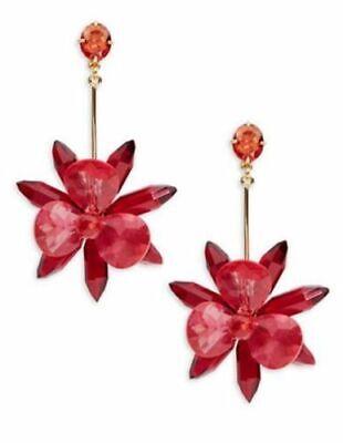 Kate Spade Blooming Brilliant Statement Long Flower Drop Earrings-PINK Blooming Flower Drop Earrings