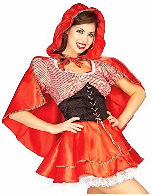 Sexy Little Red Riding Hood (Little Red Riding Hood Adult Sexy Costume 3 Pc Red & Wht Dress Cape & Belt MD)