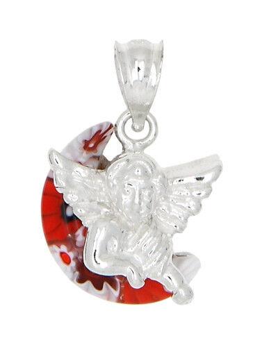 STERLING SILVER MILLEFIORI RED ITALIAN MURANO GLASS ANGEL CHARM OR PENDANT