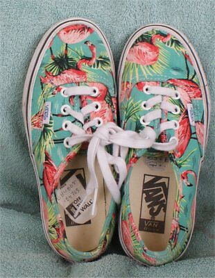 OFF THE WALL VANS FLAMINGO BIRD PINK / GREEN  LACE UP TENNIS SHOES W-5 M-3.5  ()