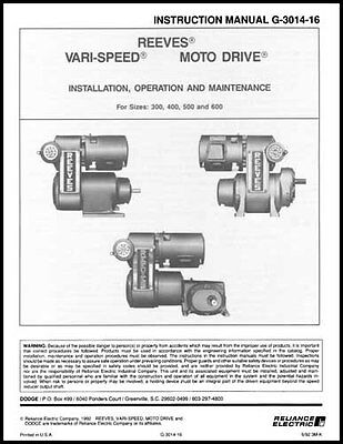 Reeves 300 To 600 Series Vari-speed Drive Manual