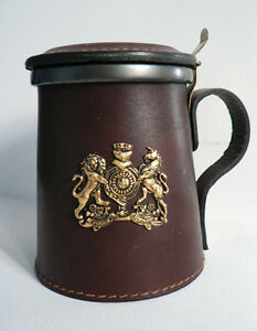 Leather & Pewter Tankard - Bar decor Cambridge Kitchener Area image 1