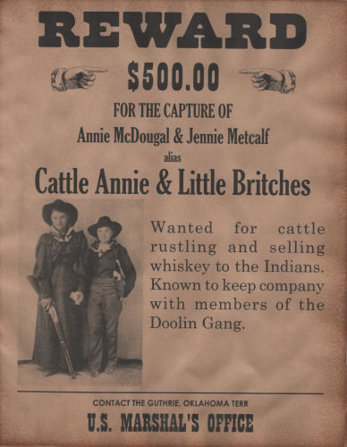 Cattle Annie & Little Britches Wanted Poster, Western, Outlaw, Old West