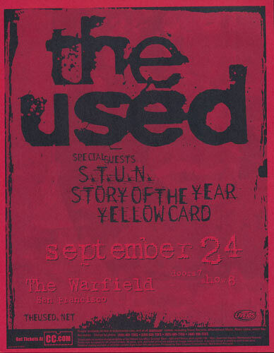 The Used S.T.U.N. Story of the Year Yellowcard Warfield 2003 Flyer Red