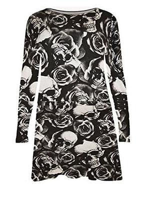 Ladies'  Long Sleeve Rose and skull Print Swing Skater Holloween Dress plus size](Holloween Dresses)