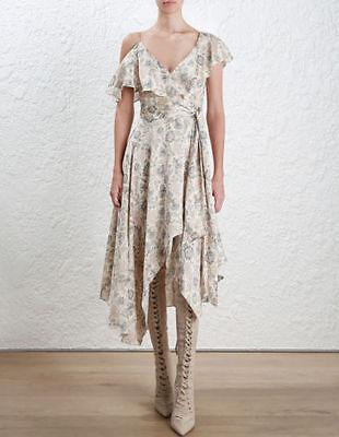 - 2017 NWT Authentic Zimmermann $850 Stranded Wrap Silk Midi Dress Ivory Paisley