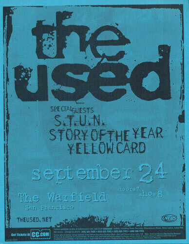 The Used S.T.U.N. Story of the Year Yellowcard Warfield 2003 Flyer Blue