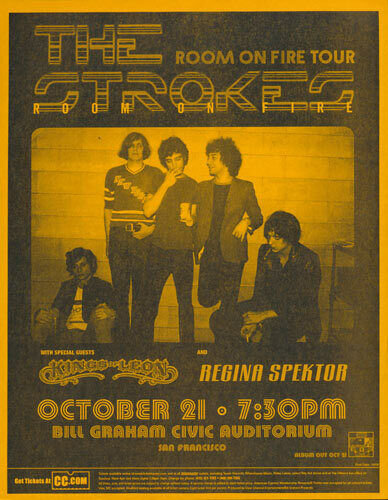 Strokes Kings of Leon Regina Spektor BG Auditorium San Francisco 2003 Orange