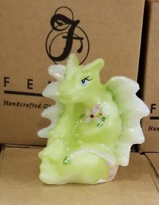 Fenton Dragon (LENOX ~ Fenton DRAGON Lima Little Green Dragon ~ Art Glass Figurine  NIB)