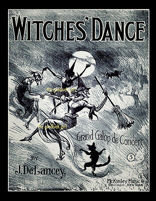 WITCHES DANCE 8x10 witch black cat Vintage Halloween sheet music cover Art print