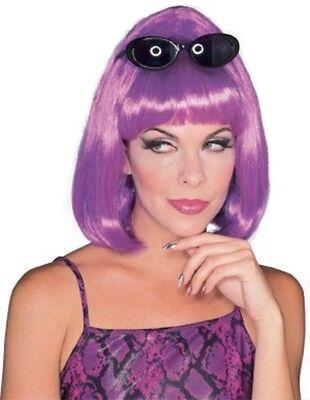 Womens Short Purple Wig Rock Star Hair Chin Length Bob Bangs Adult Halloween NEW (Rockstar Halloween Accessories)