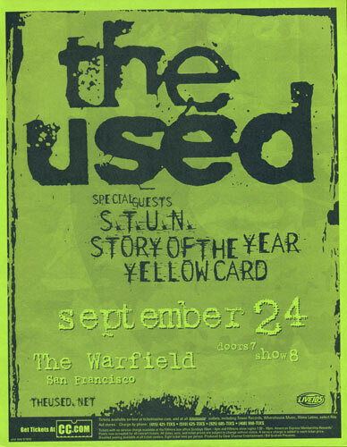 The Used S.T.U.N. Story of the Year Yellowcard Warfield 2003 Flyer Green