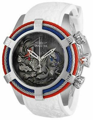 - Invicta Mens 54MM Bolt Tri-Cable Dragon & Koi Fish SS White Strap 200M Watch