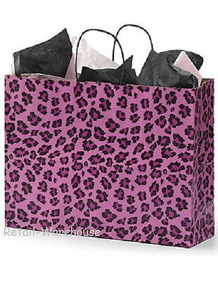 Paper Bags Vogue Retail Merchandise Shopping 25 Pink Leopard Cheetah 16 X 6 X 12