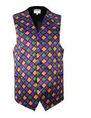 Mardi Gras Diamonds Tuxedo Vest and Pre-Tied Bow  - Mardi Gras Tuxedo Vest