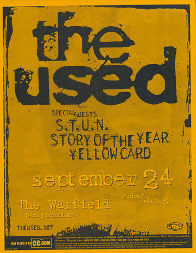 The Used S.T.U.N. Story of the Year Yellowcard Warfield 2003 Flyer Orange