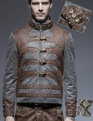 Steampunk Zweifarbig Leder Jacke Gothic Vintage Zahnrad Karabiner PunkRave Mann