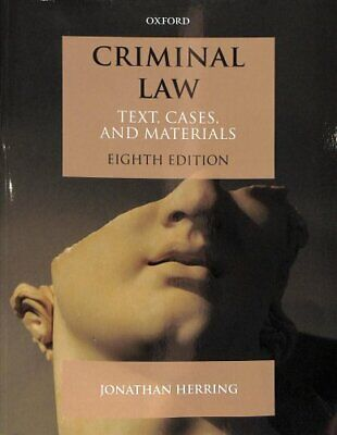 Criminal Law Text, Cases, and Materials by Jonathan Herring 9780198811817