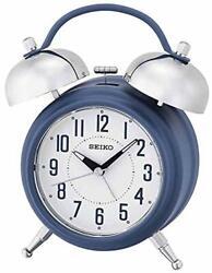 SEIKO QHK051LLH Blue Dual Bell Extra Loud Alarm Clock, Quiet Sweep/Snooze