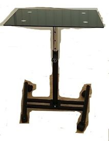 LAPTOP TABLE WITH BLACK GLASS TOP - ADJUSTABLE