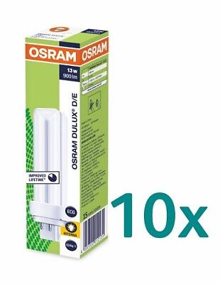 10x OSRAM DULUX D/E 13W (827,830,840) G24Q-1 Energiesparlampe 4PIN 130mm - 13w 4 Pin Lampe
