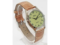 Gents New Reflex Watch Chrome Case L Green Dial Brown Strap 101155GT