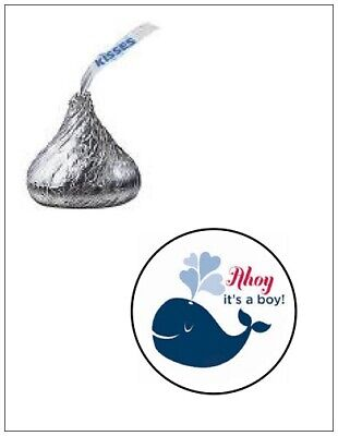 Ahoy Baby Shower (108 AHOY IT'S A BOY BABY SHOWER HERSHEY KISS CANDY LABELS STICKERS 0.75