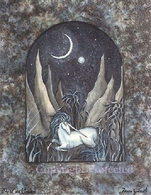 Jessica Galbreth Fantasy Art (Jessica Galbreth Print The Last Unicorn White Horse Moon Night Sky Fantasy)