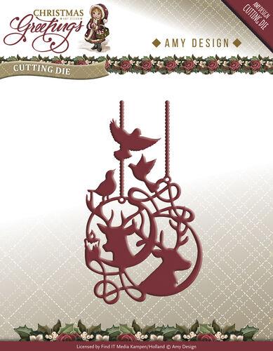 Amy Design Christmas Greetings Reindeer Ornament  Reindeer & Birds
