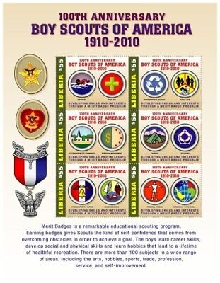 Liberia - 2010 - BOY SCOUTS OF AMERICA 100TH ANNIVERSARY - Sheet of 6 MNH