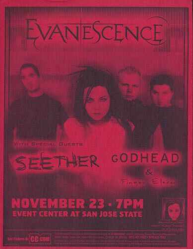Evanescence Seether Finger Eleven Godhead San Jose State 2003 Flyer Red