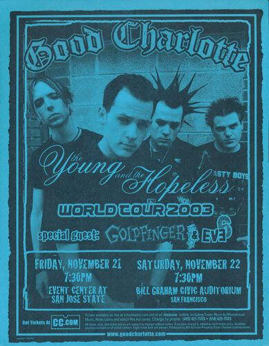 Good Charlotte Goldfinger Eve 6 San Jose State 2003 Tour Flyer Blue