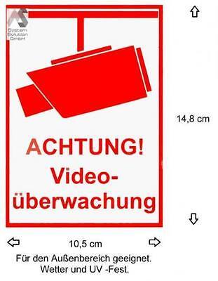 2 x << VIDEO ÜBERWACHT >> KAMERA AUFKLEBER WARNAUFKLEBER !! VIDEOKAMERA !!