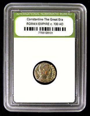 Slabbed Roman Imperial Constantine The Great Era Ancient Bronze Coin c. 300 A.D.