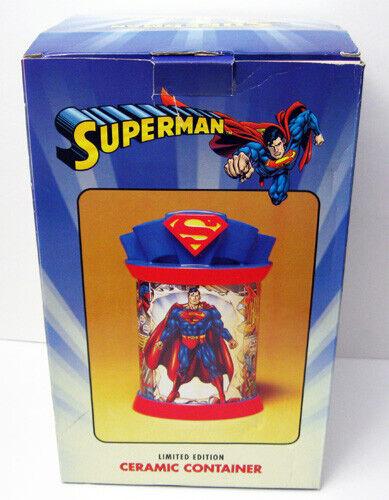 WARNER BROS SUPERMAN LTD EDITION CERAMIC CONTAINER COOKIE JAR UNUSED MINT IN BOX