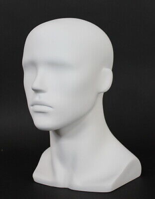 13.5 In H Male Head Mannequin Bust Form Display Mannequin Matte White Mh8-wt