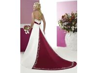 Red/White Satin Wedding/Prom Dress size 14/16