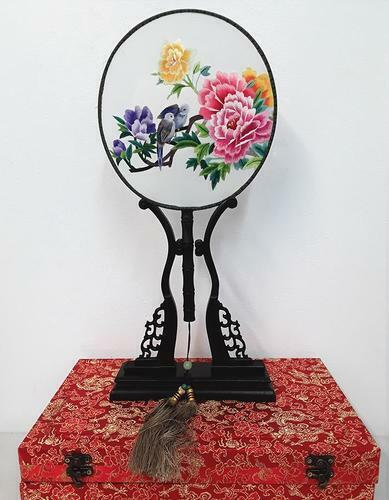 Chinese SuZhou Silk Embroidery Fan (With Decorative Case and Stand) | PEONY