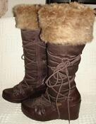 Fur Trim Wedge Boots