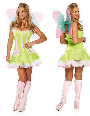 Ladies 3 Piece Green Woodland Fairy Fancy Dress Costume,Party Hen Night - Woodland Fairy Party
