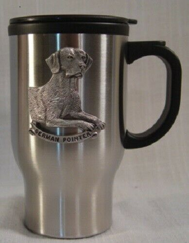 Travel Mug with Handle with Pewter German Pointer New in Box LAST ONE!*
