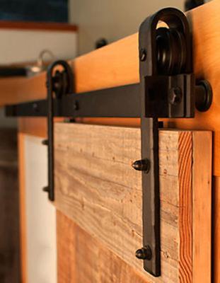 LOV 6.6 FT Black Steel Slide Sliding Barn Door Hardware Track Rail Hanger Roller ()