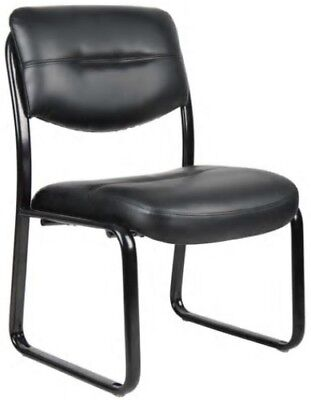 Boss Leather Guest Chair - Boss Black Leather Guest Chairs LeatherPlus Office Task Lobby Visitor Side Chair