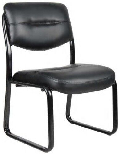 Boss Black Leather Guest Chairs LeatherPlus Office Task Lobb