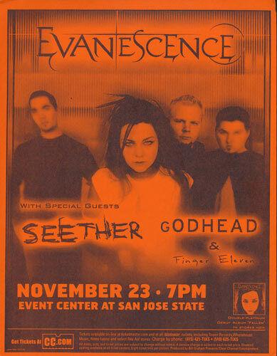 Evanescence Seether Finger Eleven Godhead San Jose State 2003 Flyer Orange