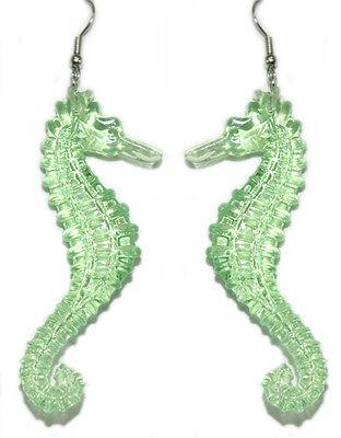 GREEN ACRYLIC SEAHORSE DANGLE EARRINGS (D354)