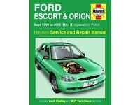 Haynes Service & Repair Manual For Ford Escort Sep 1990 - 2000