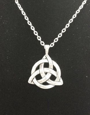 NEW Celtic Silver Plated Triquetra Trinity Knot Pendant  Long Chain Necklace Celtic Silver Plated Necklace