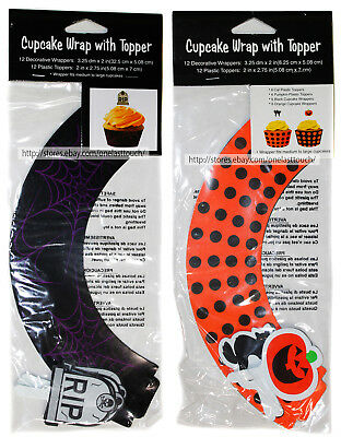 CREATIVE CONVERTING* 24pc CUPCAKE WRAP w/TOPPER Halloween Decor *YOU CHOOSE* New
