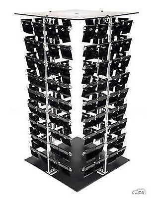 Acrylic Rotating Earring Display Stand Revolving With 200 Black Earring Cards  Display Stand Black Rotating Earring